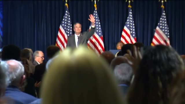 ktla jeb bush speaks at ronald reagan library in simi valley on august 11 2015 - us republican party 2016 presidential candidate stock videos & royalty-free footage