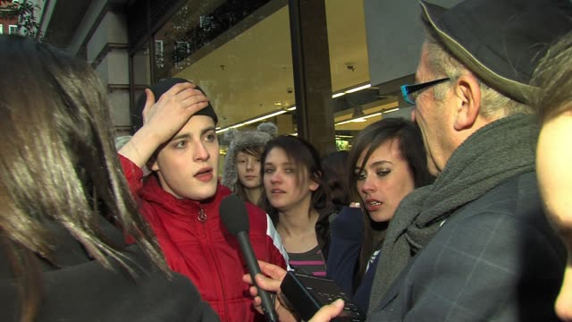 Jedward chat to fans outside their hotel SIGHTED Jedward at The Mayfair Hotel on March 04 2011 in London England