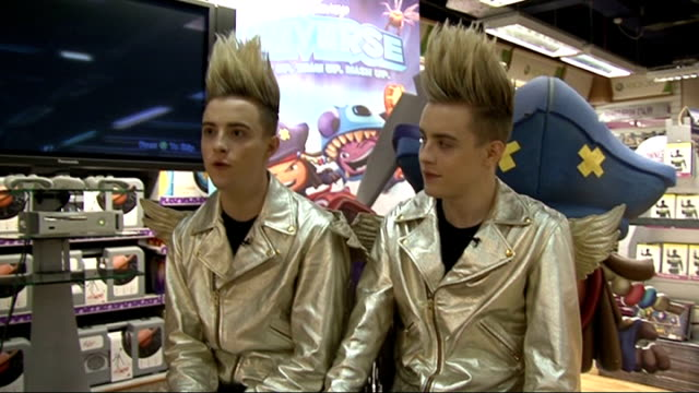 jedward interview at 'disney universe' game launch jedward interview sot on who they got on well with backstage on xfactor / need to get dr phil or... - jedward stock videos and b-roll footage