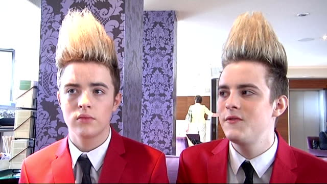 jedward interview jedward interview sot on facebook lots of fake jedwards on facebook / always on twitter - jedward stock videos and b-roll footage