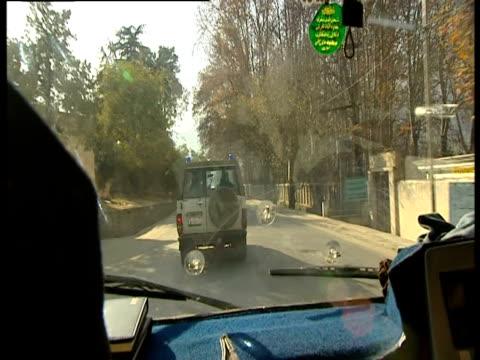 jeep driving along road in swat - pakistan video stock e b–roll