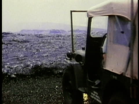 1970 ms jeep driving on volcanic landscape with blobs of cooling lava after the eruption of kilauea volcano / hawaii / audio - 1970 stock videos & royalty-free footage