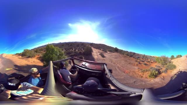 a jeep travels down a steep rockface - equirectangular panorama stock videos & royalty-free footage