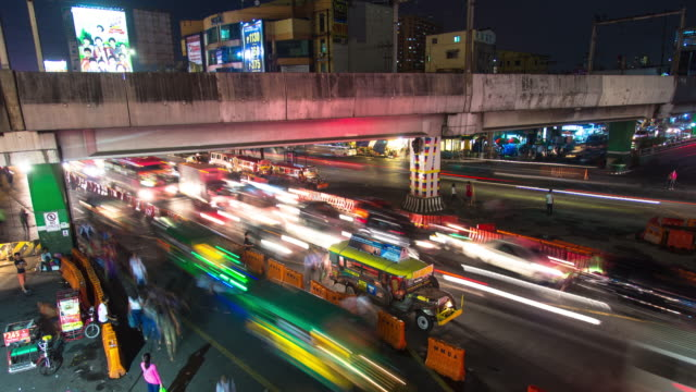 jeepneys by manila freeway - time lapse - philippines stock videos & royalty-free footage