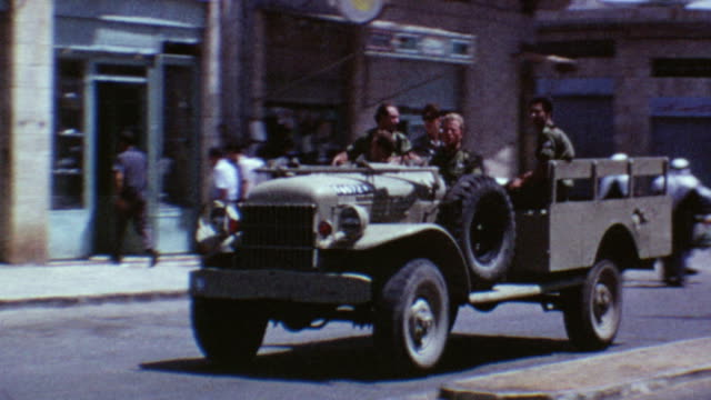 idf jeeps on august 10 1967 in east jerusalem israel - sechstagekrieg stock-videos und b-roll-filmmaterial