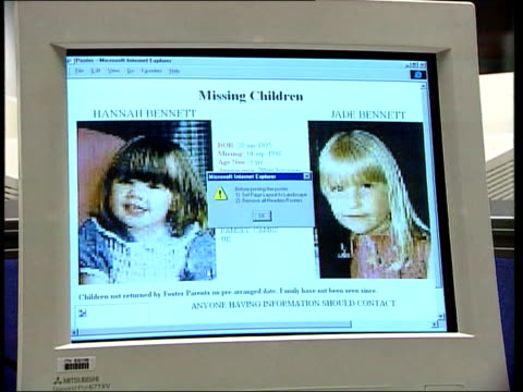 jeff and jenny bramley return after 17 weeks on the run; itn gir: computer screen with photographs of missing children displayed on internet site... - worthing点の映像素材/bロール