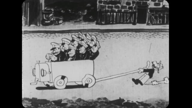 1926 jeff and police race down the street in wagon - 1926 stock videos & royalty-free footage