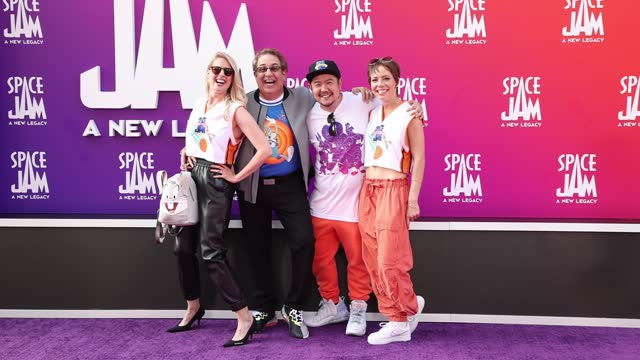 """jeff bergman and eric bauza attends the premiere of warner bros """"space jam: a new legacy"""" at regal live on july 12, 2021 in los angeles, california. - space jam stock videos & royalty-free footage"""