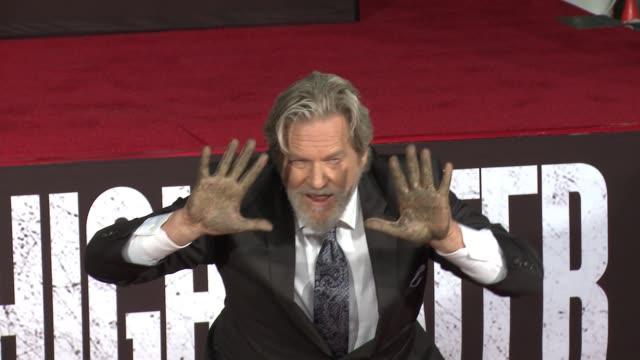 Jeff Bridges at Jeff Bridges places his Handprints and Footprints in Cement in Los Angeles CA