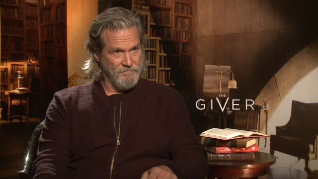 INTERVIEW Jeff Bridges on if he felt this film was an homage to his Dad at 'The Giver' Press Junket at the Four Seasons Hotel Los Angeles on August...
