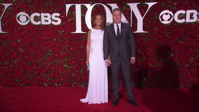 jeff daniels and kathleen rosemary treado at 2016 tony awards red carpet at the beacon theatre on june 12 2016 in new york city - 70th annual tony awards stock videos and b-roll footage