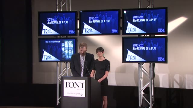 jeff daniels announces the nominees for best revival of a play and musical at the 64th annual tony award nominations announcement at new york ny. - revival stock videos & royalty-free footage