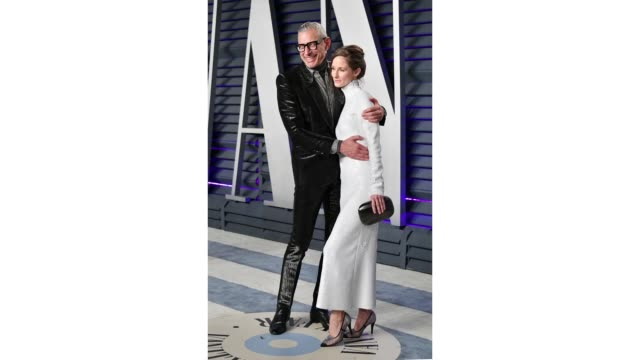Jeff Goldblum and Emilie Livingston attend the 2019 Vanity Fair Oscar Party hosted by Radhika Jones at Wallis Annenberg Center for the Performing...