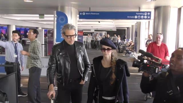 Jeff Goldblum Emilie Livingston departing at LAX Airport in Los Angeles in Celebrity Sightings in Los Angeles
