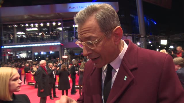 INTERVIEW Jeff Goldblum on the film and on the style of director Wes Anderson at 'The Grand Budapest Hotel' Opening Ceremony at Berlinale Palast on...