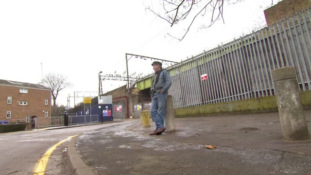 jeff hubbard outside the site of a former railway signal box where he and a friend lived whilst homeless, london, united kingdom - signal box stock videos & royalty-free footage