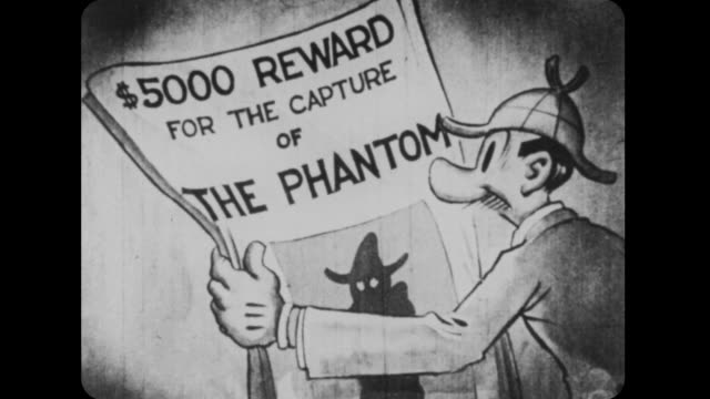 1926 jeff runs newspaper over to mutt with headline regarding wanted phantom - detektiv stock-videos und b-roll-filmmaterial