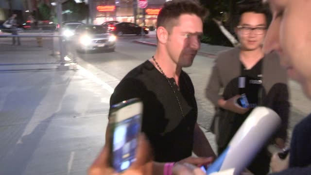 jeff timmons & drew lachey greet fans at the backstreet boys: show em what you're made of premiere in hollywood in celebrity sightings in los angeles, - backstreet boys stock videos & royalty-free footage