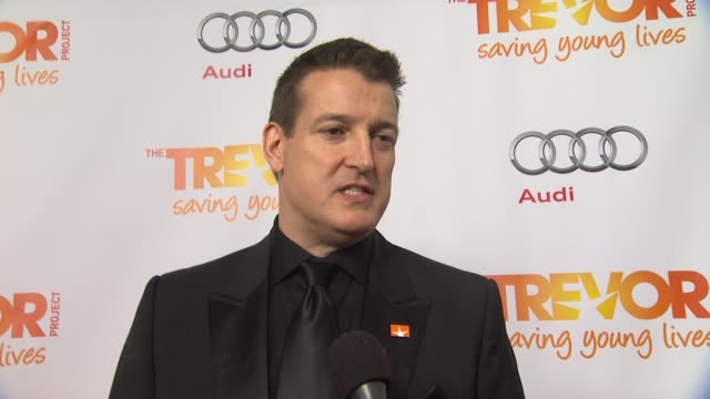 jeff whaley on why he supports the trevor project what he is most looking forward to and why katy perry is deserving of the trevor hero award at the... - the trevor project stock videos and b-roll footage
