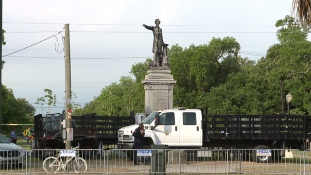 "jefferson davis monument - one of four statues that the new orleans city council had declared a ""public nuisance"" and was scheduled to be removed by... - monument stock videos & royalty-free footage"