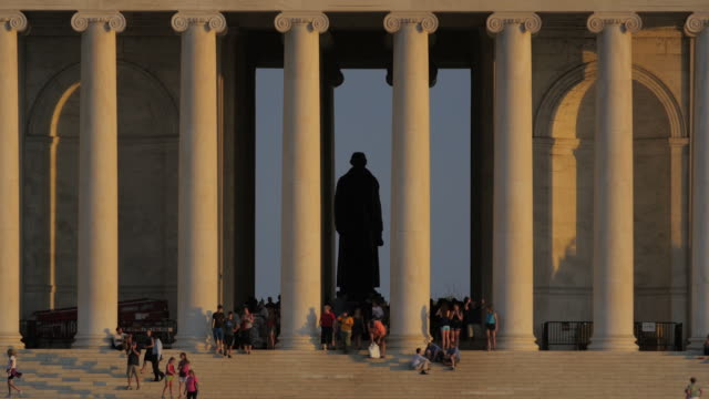 vidéos et rushes de jefferson memorial, au coucher du soleil - jefferson memorial
