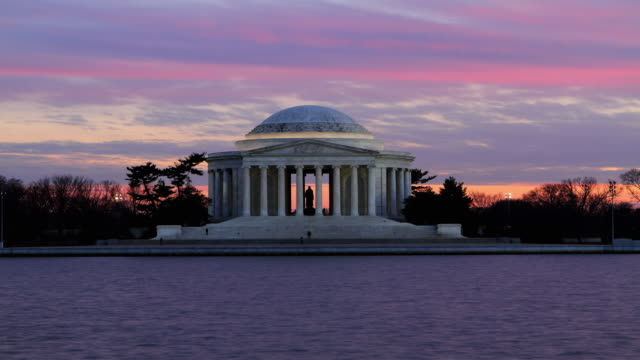 Jefferson Memorial sunset Time lapse