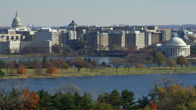 jefferson memorial with potomac in foreground and washing dc skyline in rear. shot in 2011. - jefferson memorial stock videos & royalty-free footage
