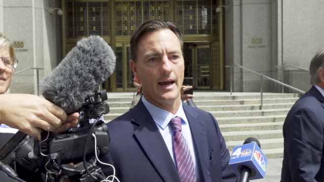 jeffrey epstein appears in manhattan federal court on sex trafficking charges on july 08 2019 note shown here is attorney brad edwards leaving... - verurteilung stock-videos und b-roll-filmmaterial