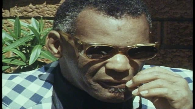 jeffrey james interviews ray charles for sounds unlimited program re soul music genre the cause of his vision impairment and how he got his break in... - soul music stock videos & royalty-free footage