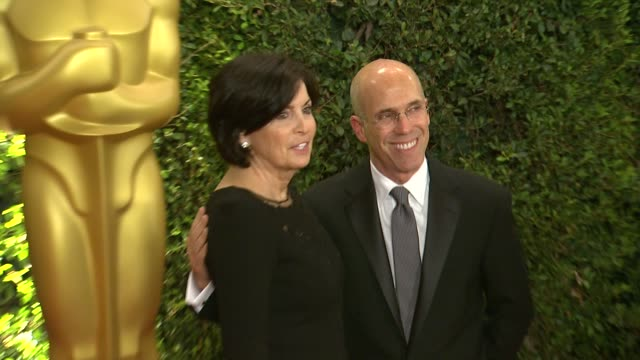 jeffrey katzenberg marilyn katzenberg at academy of motion picture arts and sciences' governors awards in hollywood ca on - academy of motion picture arts and sciences stock videos & royalty-free footage