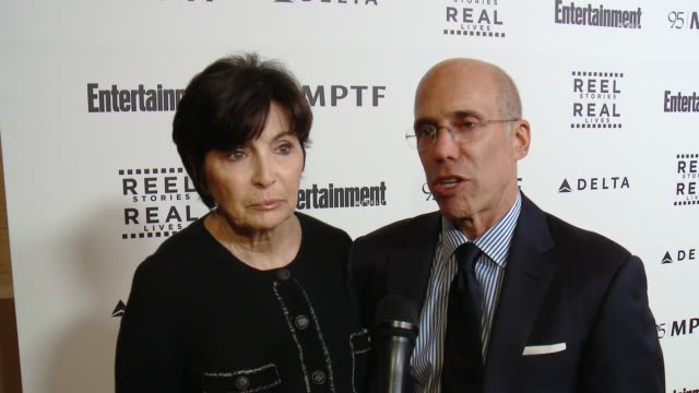 interview jeffrey katzenberg marilyn katzenberg on the event at 5th annual reel stories real lives benefiting the motion picture television fund in... - motion picture & television fund stock videos & royalty-free footage