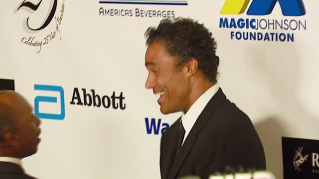 jeffrey osbourne and rick fox at the celebrities honor magic johnson for 'magic evolution' at the beverly hilton in beverly hills california on... - magic johnson stock videos and b-roll footage