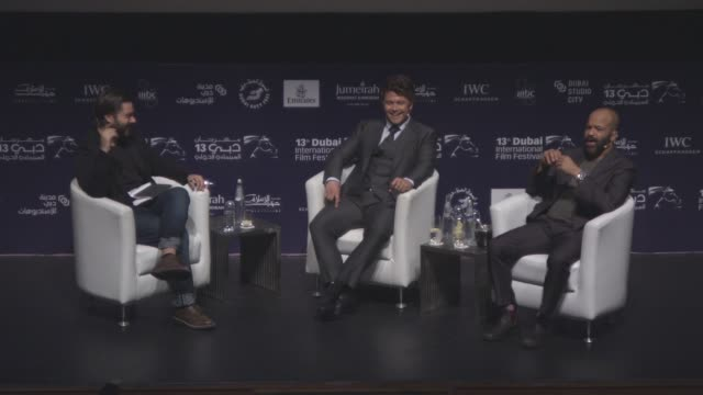 interview jeffrey wright and luke hemsworth on west world during in conversation with panel at 2016 dubai international film festival day 5 at... - day 5 stock videos & royalty-free footage