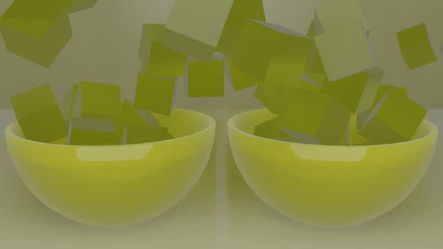 vidéos et rushes de carrés jello 3d tombant dans les bols - bol vide