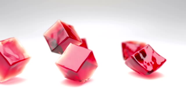 jelly cubes falling - gelatin stock videos and b-roll footage