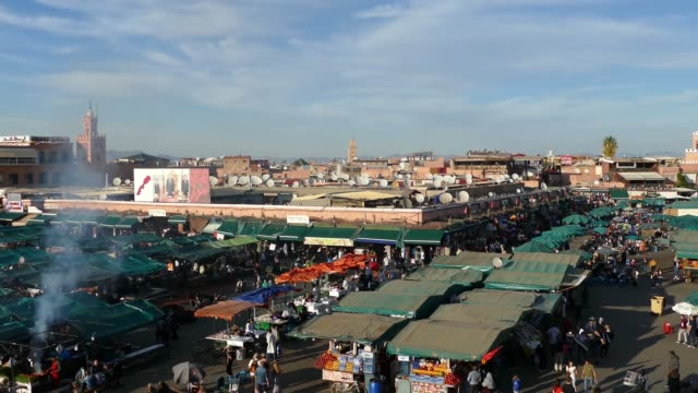 jemaa el-fna market stalls central square souk shopping marrakesh morocco - middle eastern culture stock videos & royalty-free footage