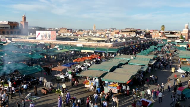 jemaa el-fna market stalls central square souk shopping marrakesh morocco - souk stock videos & royalty-free footage