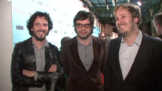 jemaine clement, bret mckenzie, and james bobin speak about the break between seasons, what writing challenges there were for season 2, the change of... - 2009 stock videos & royalty-free footage