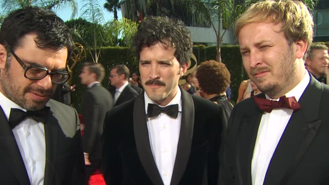 jemaine clement bret mckenzie rhys darby on experiencing the emmys their nomination the reaction they've gotten from the show at the 61st annual... - annual primetime emmy awards stock-videos und b-roll-filmmaterial