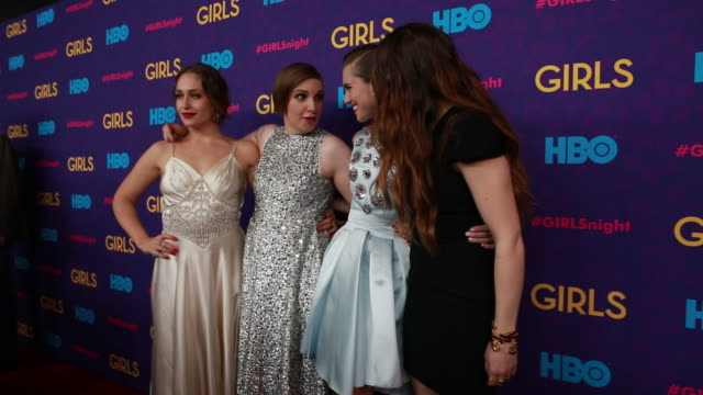 Jemima Kirke Lena Dunham Allison Williams Zosia Mamet posing for paparazzi on the red carpet at Jazz at Lincoln Center