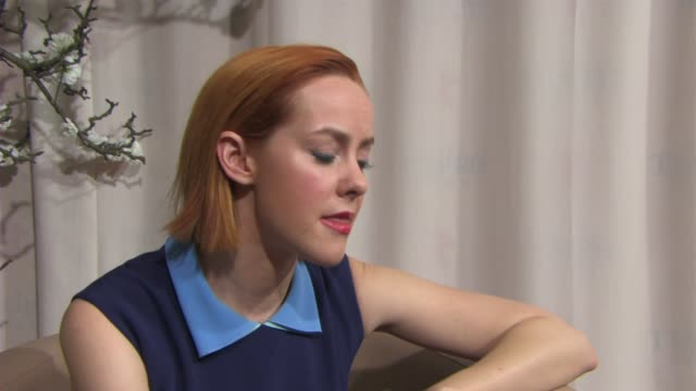 stockvideo's en b-roll-footage met interview jena malone on the sexual suppression of the victorian era at 'angelica' interviews 65th berlin film festival at grand hyatt hotel on... - hyatt