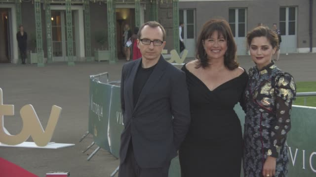 Jenna Coleman Daisy Goodwin Damien Timmer at 'Victoria' Premiere Screening and Red Carpet at Kensington Palace on August 11 2016 in London England