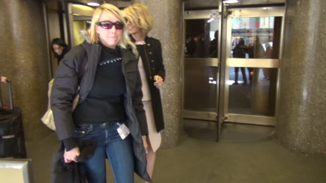 Jenna Elfman exits the NBC Studios in Rockefeller Center gets into her car in Celebrity Sightings in New York