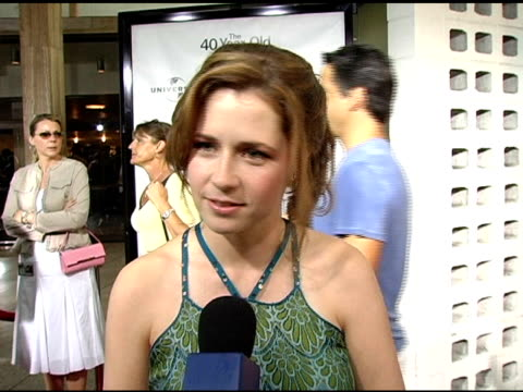 jenna fischer on what is unique about the premise on the catch phrases in the film that will become popular at the 'the 40yearold virgin' premiere at... - arclight cinemas hollywood stock videos and b-roll footage