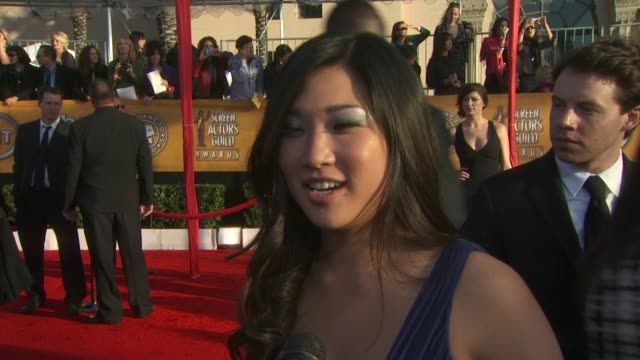 Jenna Ushkowitz on being here on being nominated on being asked to sing all the time at the 16th Annual Screen Actors Guild Awards Arrivals at Los...