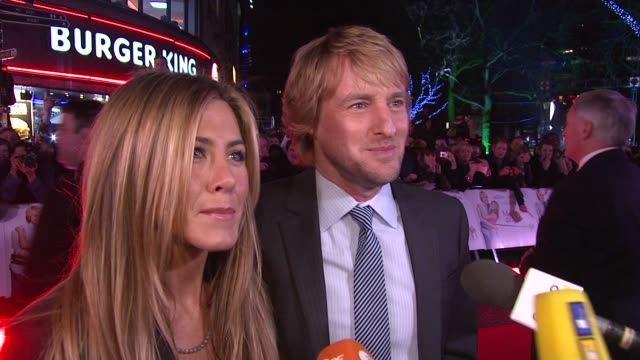 jennifer aniston and owen wilson on whether they ever get used to being centre of attention, on what lessons in love the story teaches, and on... - 2009 stock videos & royalty-free footage