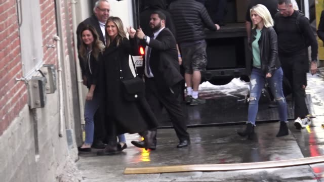jennifer aniston arrives at jimmy kimmel live at el capitan theater in los angeles in celebrity sightings in los angeles - jennifer aniston stock videos & royalty-free footage