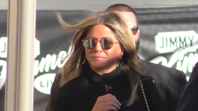 jennifer aniston arrives at jimmy kimmel live in hollywood in celebrity sightings in los angeles - jennifer aniston stock videos & royalty-free footage