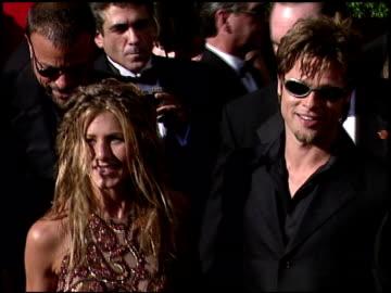 stockvideo's en b-roll-footage met jennifer aniston at the 1999 emmy awards at the shrine auditorium in los angeles, california on september 12, 1999. - 1999