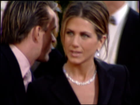 jennifer aniston at the 2002 golden globe awards at the beverly hilton in beverly hills, california on january 20, 2002. - golden globe awards stock videos & royalty-free footage